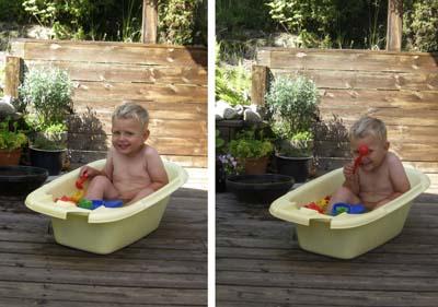 Jag badade på altanen i en balja ...