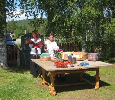 Här blir vi bjudna på rosa bubbel och söta jordgubbar ute i Hälsingebygden ...